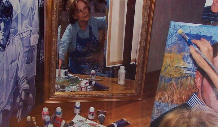 Suzanne Weber, Portrait Artist, at work'